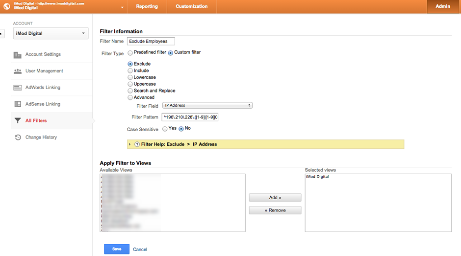 Exclude IP Address from Google Analytics