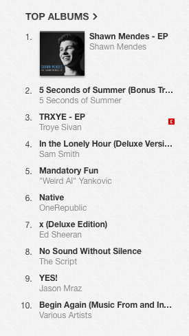 Shawn Mendes Top of iTunes