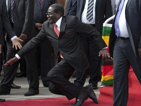 Mugabe Fall at Harare Airport