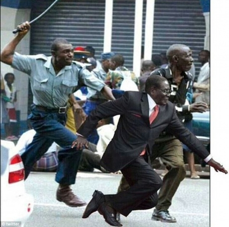 Mugabe Falls Running away meme