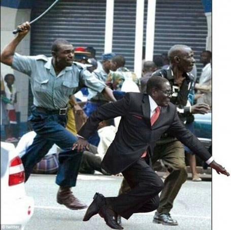 Mugabe Falls Running away meme