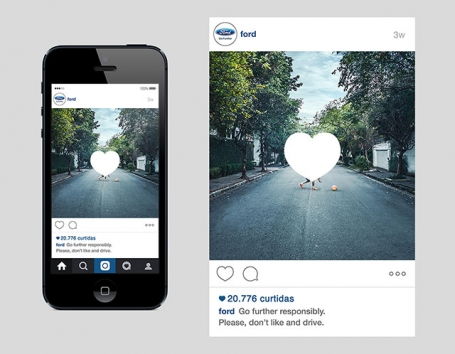 Don't like and drive instagram campaign. Pedestrain crossing road