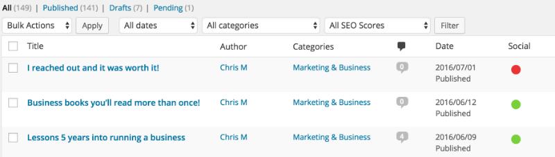 WordPress Social Dashboard