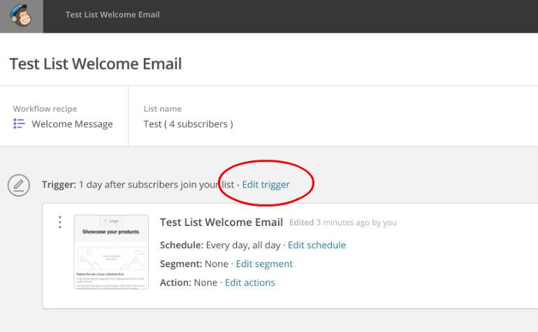 MailChimp: Edit Trigger