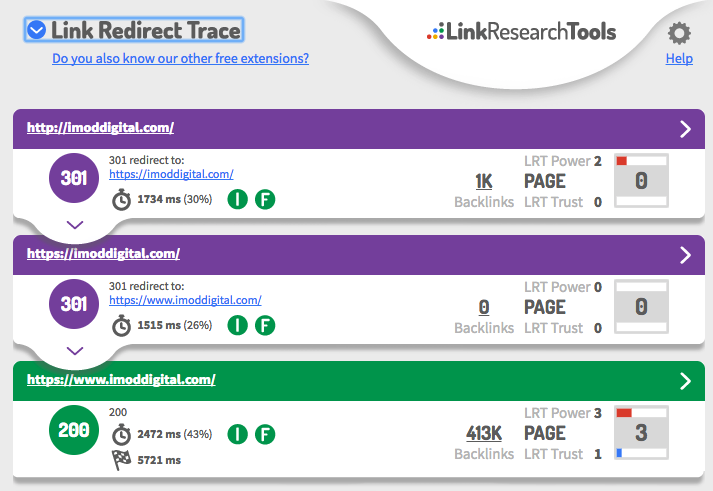 Link Redirect Trace Chrome Extension